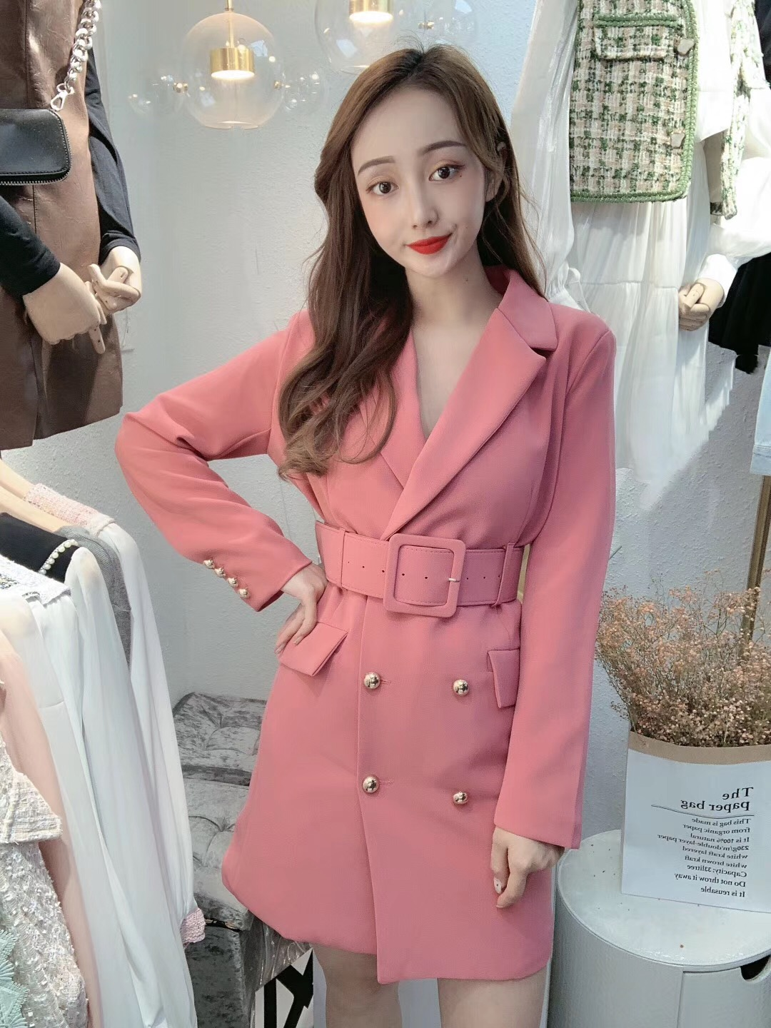 Dress for autumn of 2019: slim waist, long sleeve, two color net red, retro, double breasted, small fragrance suit skirt