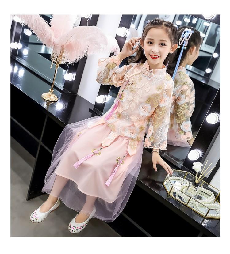 超仙女童旗袍古装礼服长袖中大童花色小公主汉服套装裙秋装中国风