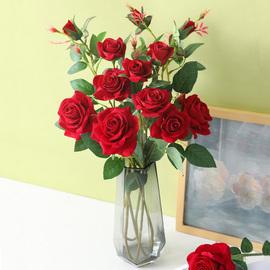 防真絨布玫瑰花客廳裝飾仿真花單支花束假花干花擺件塑料插花擺設圖片