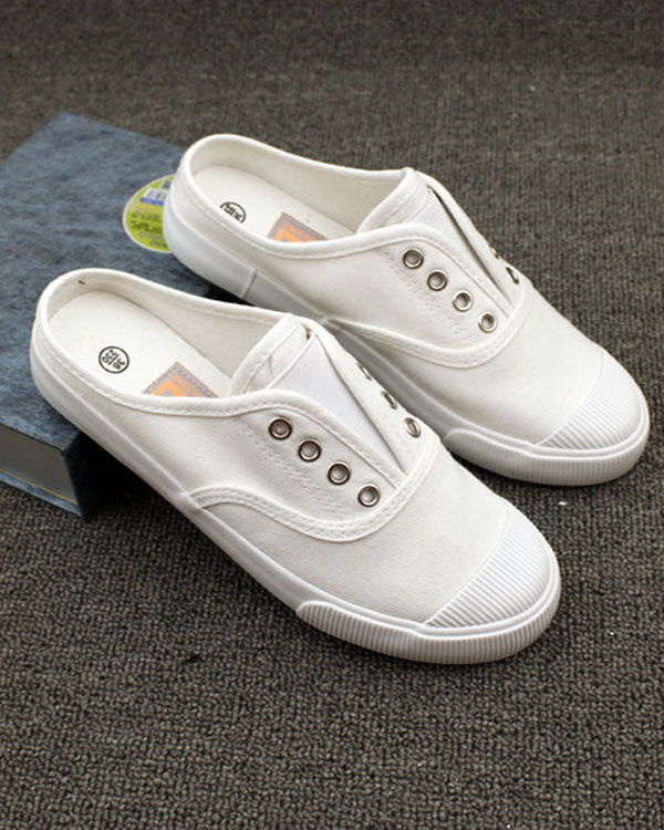 Half drag white canvas shoes, no heel womens shoes, summer half bracket lace up board shoes, ball shoes, Korean students flat shoes