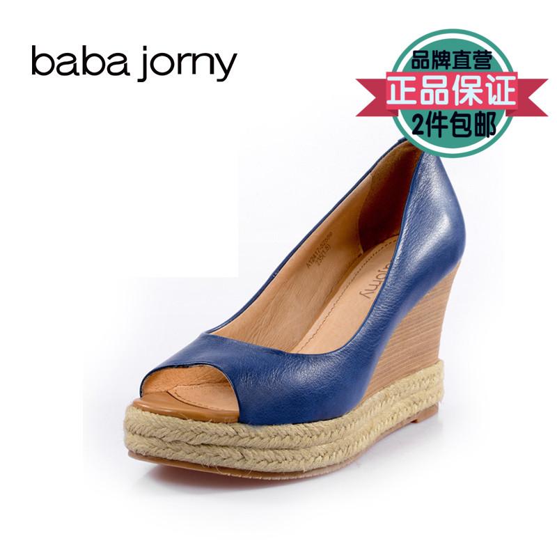 巴巴娇妮工厂店清仓断码处理女鞋羊皮坡跟舒适女鞋草编边鱼嘴凉鞋