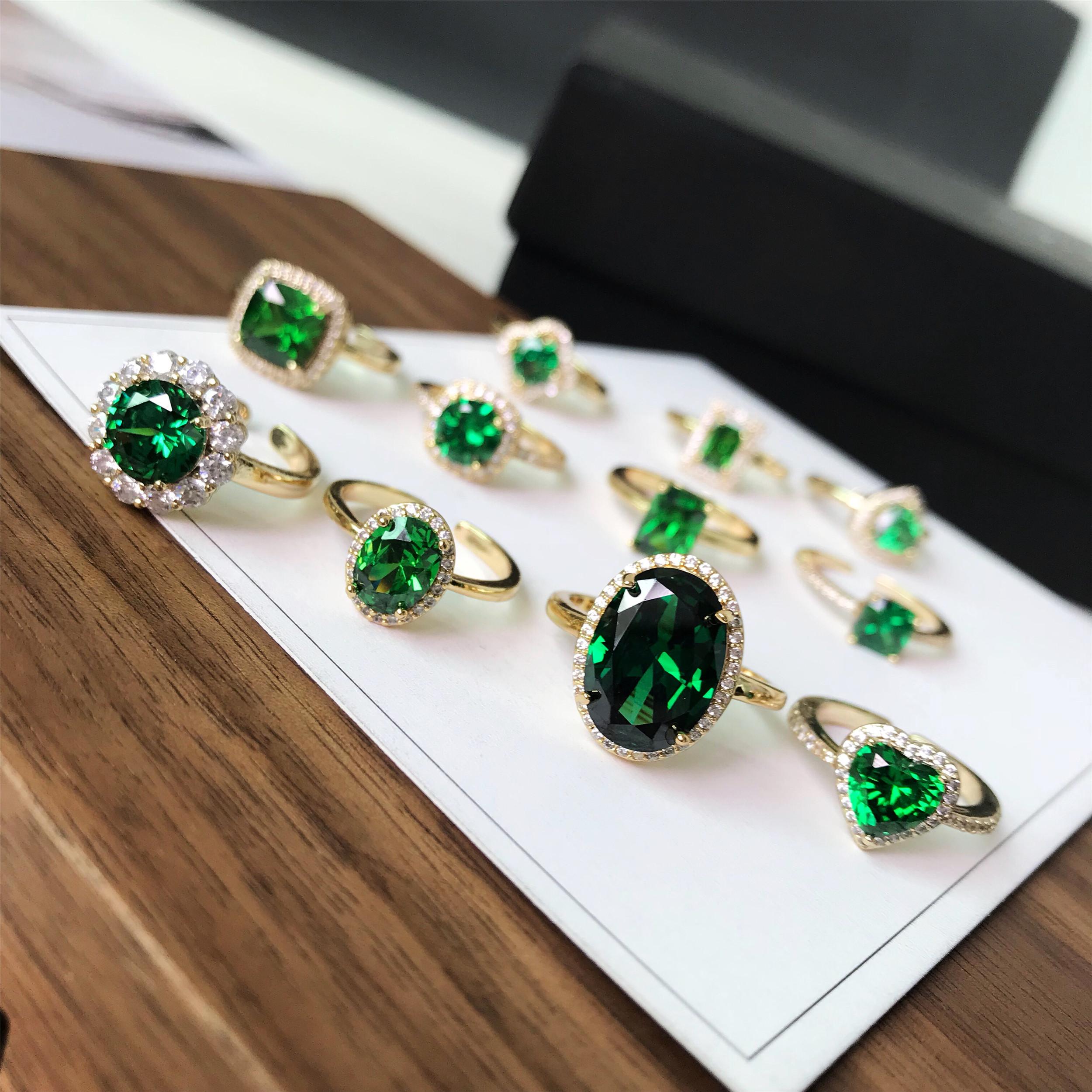 谢谢安1988定制绿宝石女开口钻指环