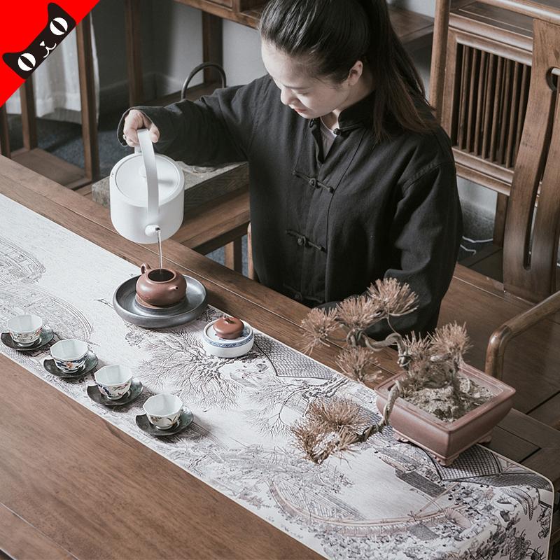 云术 复古中国风国画丝绢茶席桌旗 禅意防水茶道布艺功夫茶中式