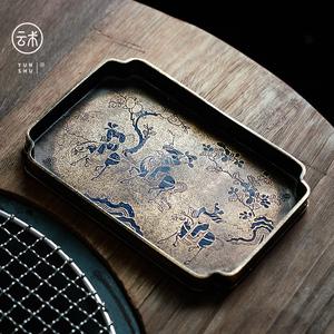 云术宋式仿古做旧纯铜漆绘壶承家用