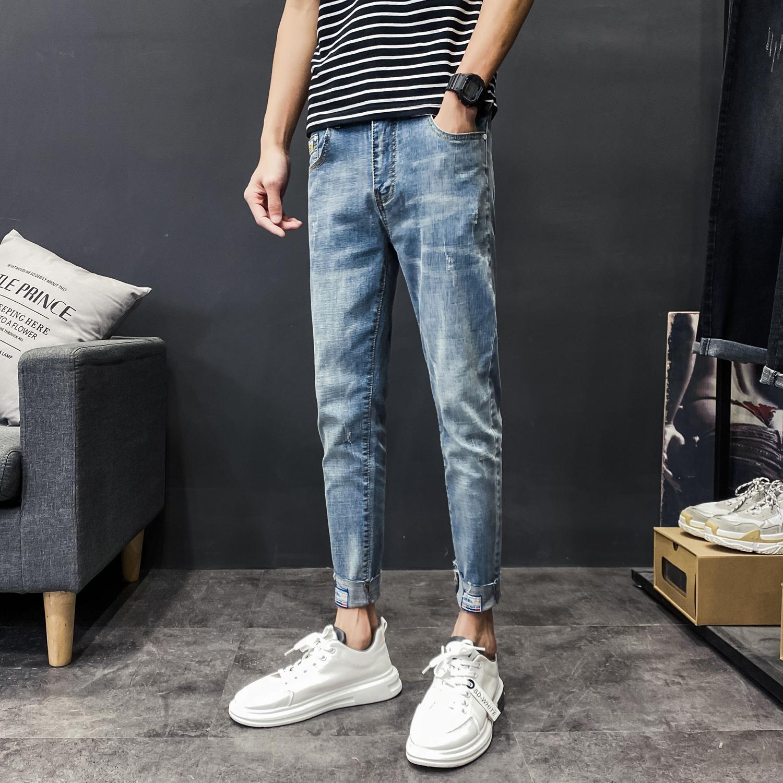 八分裤牛仔裤男休闲长裤子韩版百搭修身九分裤KK208p65