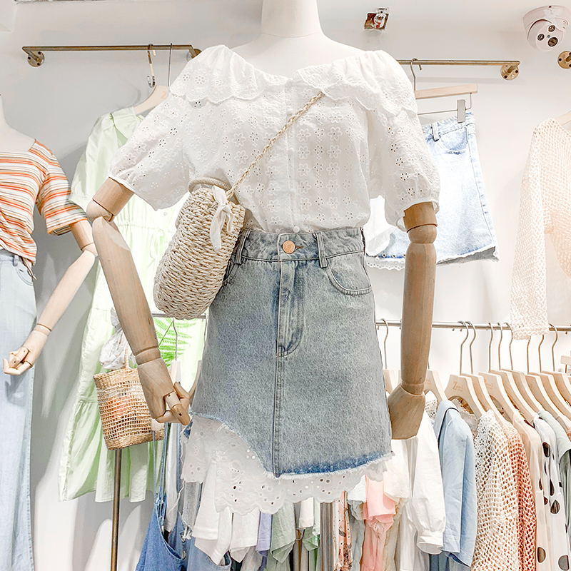 【特卖不能退可以换】两件套夏蕾丝开衫不规则牛仔半身裙套装