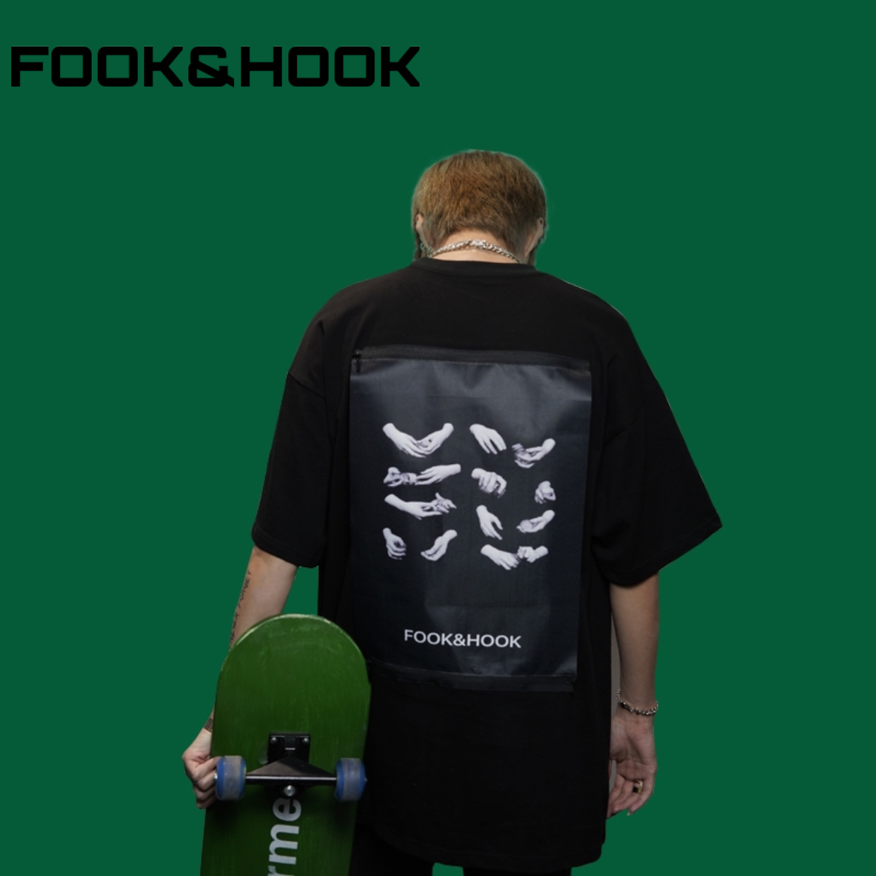 【FH】FOOK&HOOK国朝オリジナルデザイナーブランドは春夏手と薬箱Tシャツ半袖を自由に交換します。
