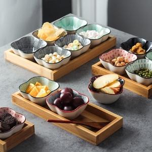 陶瓷分格果盘托盘零食盘日式客厅干果拼盘创意茶点盘餐厅小吃盘