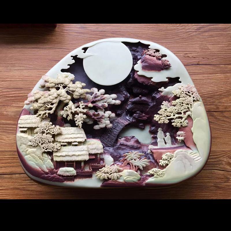 易水砚纯手工砚台紫袍玉带石长方形墨池原石书法高档砚台摆件包邮