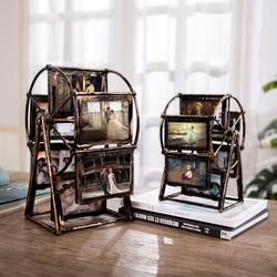 创意摩天轮相框摆台旋转风车相册小摆件 复古diy手工个性照片相架