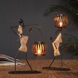 复古创意西餐桌艺术铁艺烛台工艺品北欧浪漫家用个性美式装饰摆件