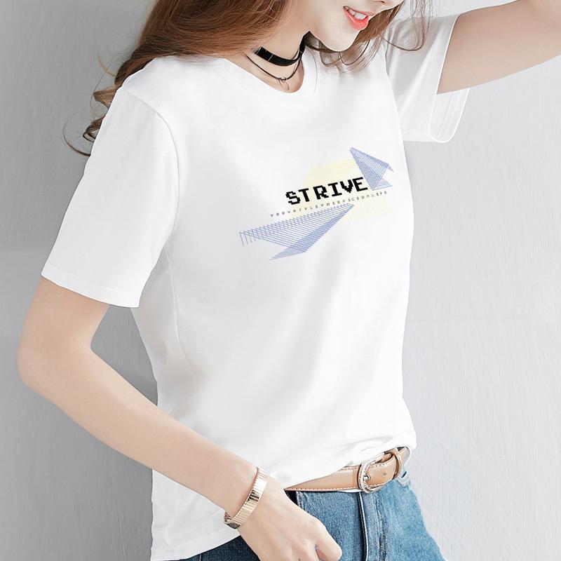 中國代購 中國批發-ibuy99 T恤女 纯棉t恤女短袖2021新款夏装韩版宽松大码白色半袖体恤上衣服ins潮