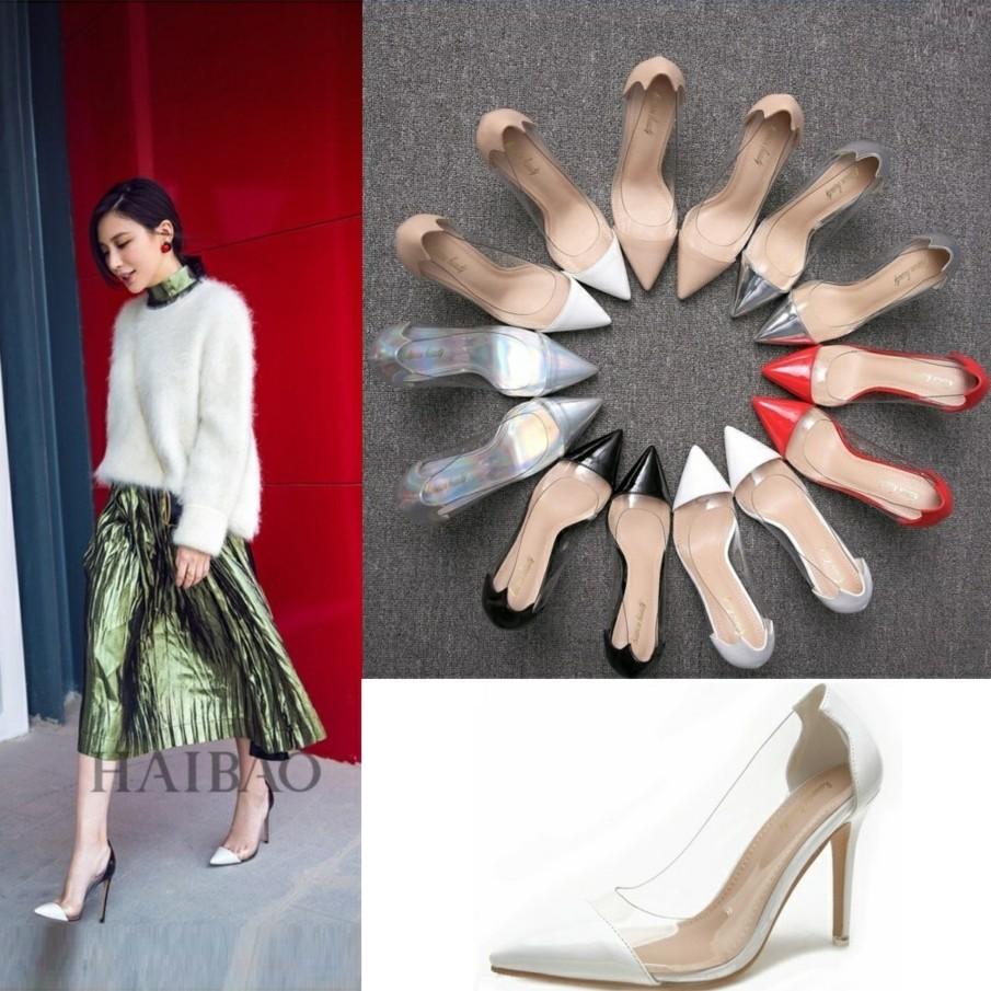 新款女鞋2020爆款流行尖头单鞋细跟拼色百搭工作鞋白色透明高跟鞋 Изображение 1