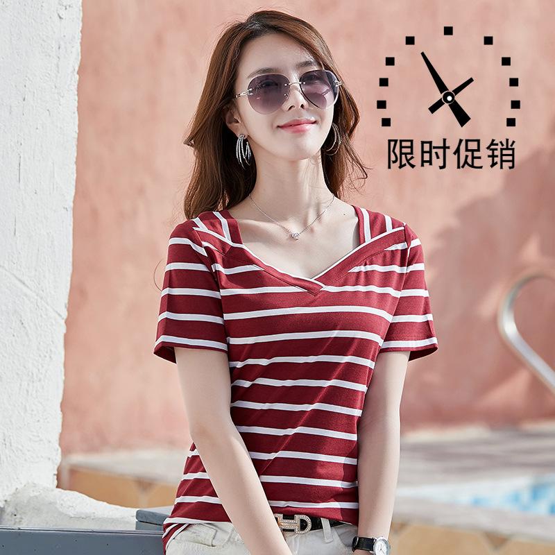 夏季新款2020横条纹大V领t恤衫女装短袖修身韩版时尚百搭潮流性感