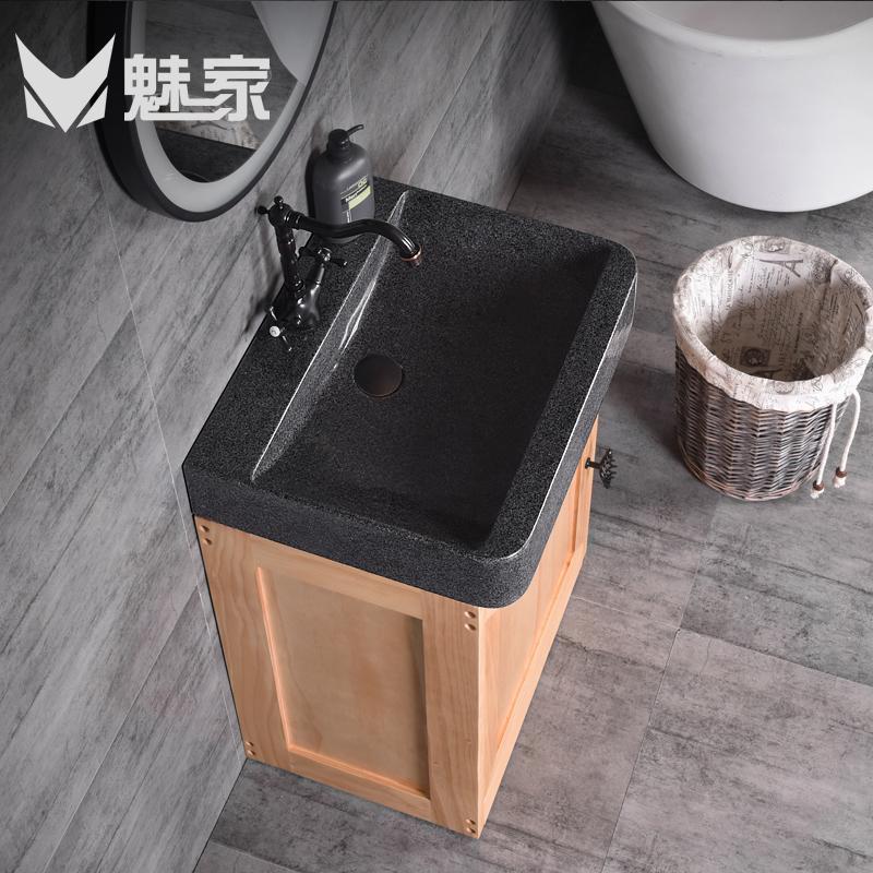 买三送一魅家卫浴小户型浴室柜套装大理石洗手台三角洗手盆柜组合北欧风格