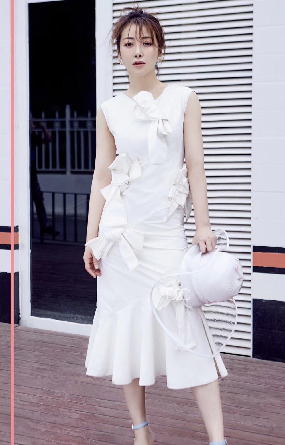【陈紫函同款】NIKITA CAI 蔡晓蕾 白色大蝴蝶结连衣裙