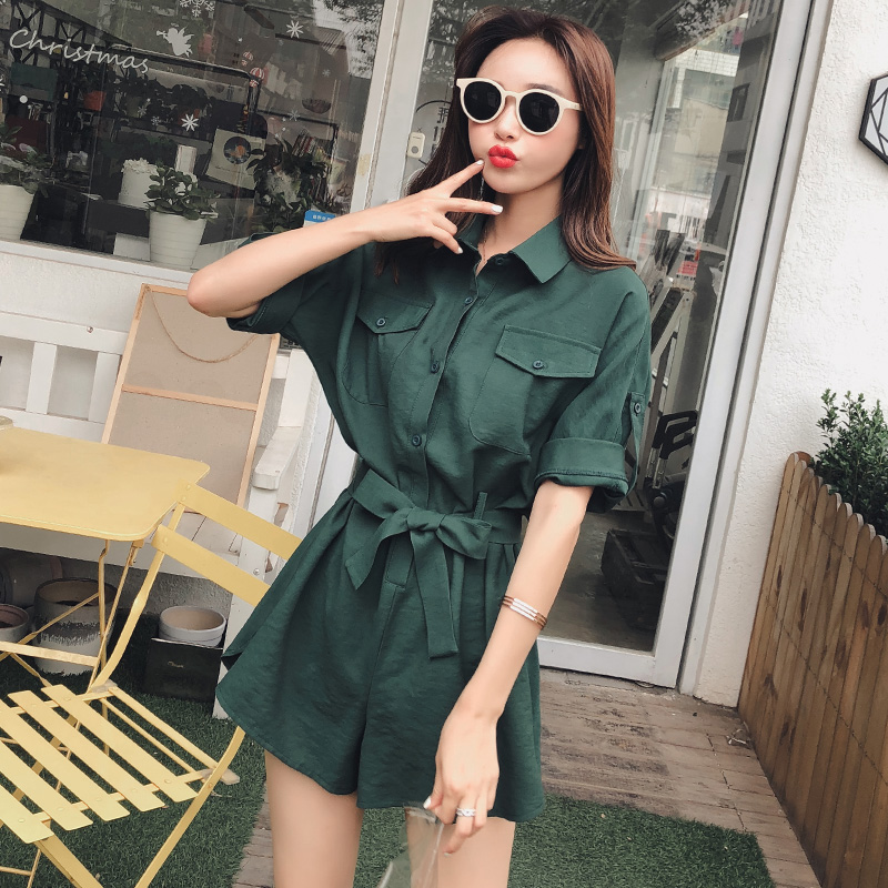 Short one-piece pants, Korean version, high waist, thin and loose work clothes, panties, spring and summer one-piece pants, womens clothes