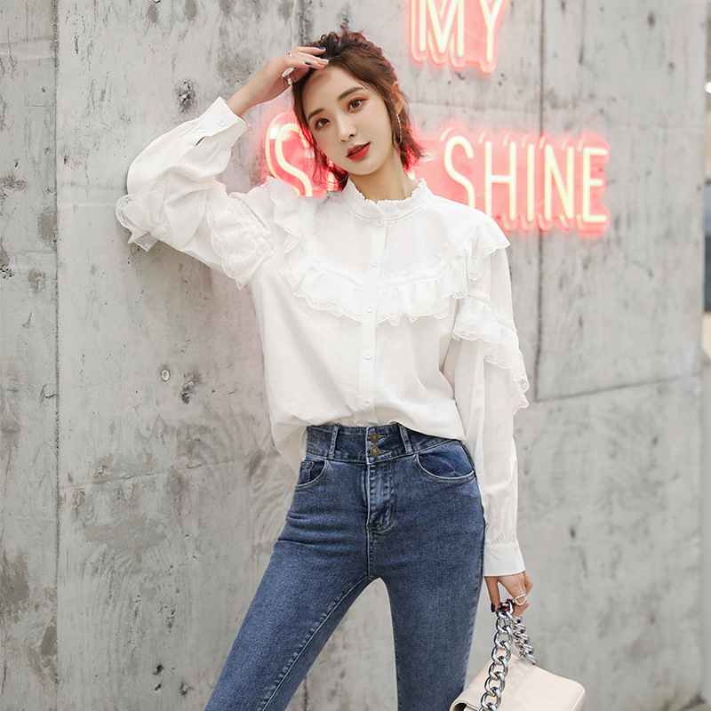 Shirt 2020 spring new temperament lace splicing small stand collar shirt Ruffle white versatile shirt womens wear