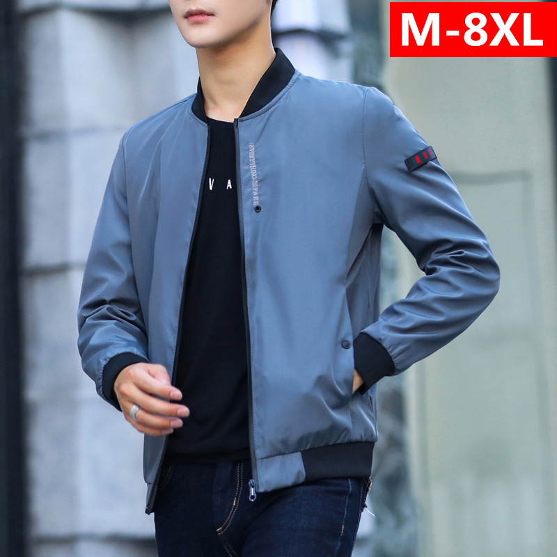Autumn super large mens jacket thin coat youth fattening plus size Korean version of fat clothes trend