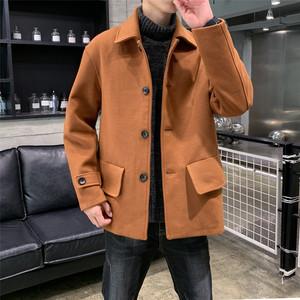 秋冬新款毛呢休閑夾克男士韓版潮流呢子大衣大碼外套男