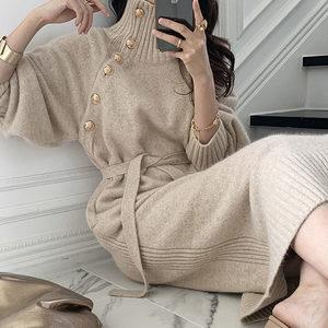 欧洲站韩版高领针织连衣裙女2021新款内搭系带收腰毛衣打底长款裙