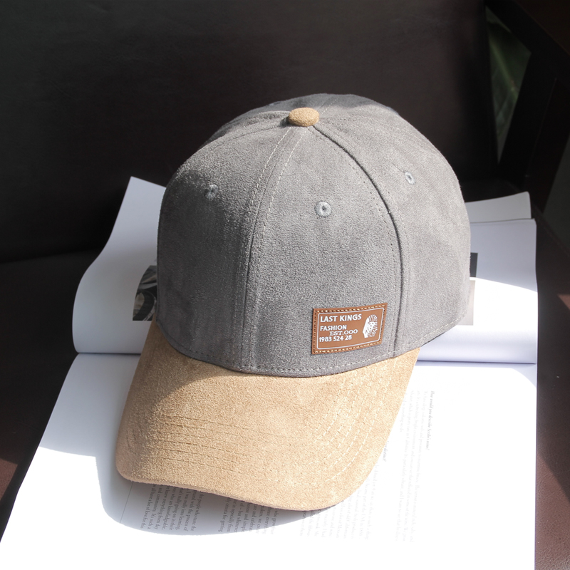 潮款 百搭韩版四季麂皮绒棒球帽子 拼色字母牌街男女款鸭舌帽修脸