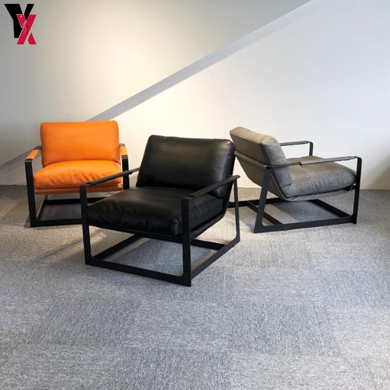 Nordic designer single sofa chair household living room modern lazy sofa model room iron leisure leather chair