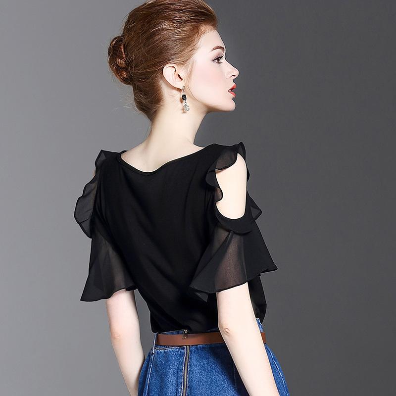 黑色一字领雪纺荷叶露肩上衣性感体恤夏季修身显瘦纯棉t恤女短袖