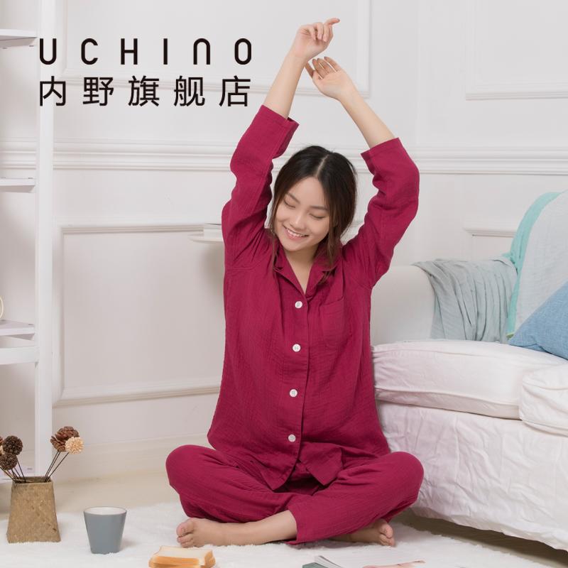 uchino内野三重纱女士长袖浴衣秋冬浴袍套装纱布浴服分体式
