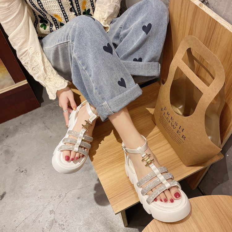 One line buckle open toe summer thick bottom muffin cross strap girls sandals Roman high top womens shoes beach shoes