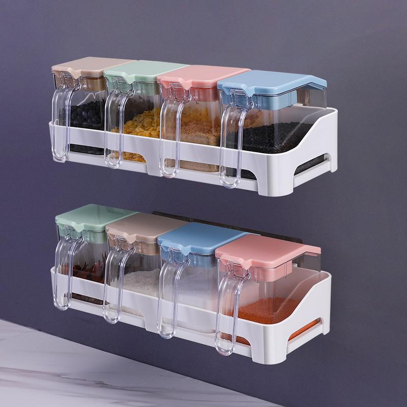 壁挂式调味盒套装家用调味罐厨房用品调料收纳盒免打孔佐料有盖瓶(非品牌)