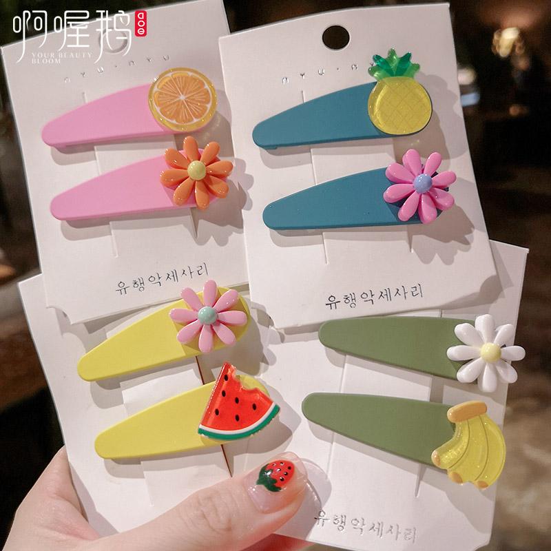 10-24新券泫雅小花风简约糖果色水果bb夹边夹