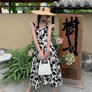 YF20980# 吊带黑白印花长裙 服装批发女装直播货源