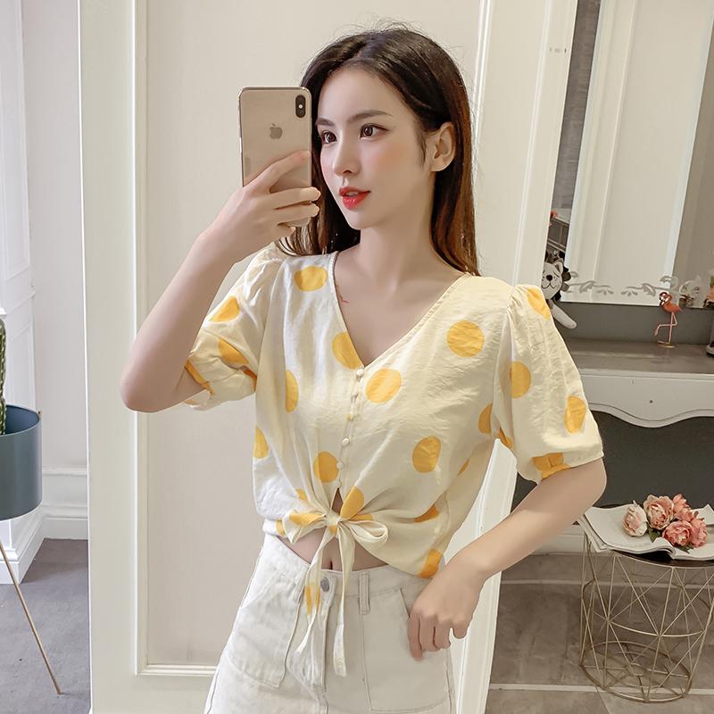 實拍2019夏季新款波點V領短袖上衣系帶襯衫女設計感小眾襯衣氣質