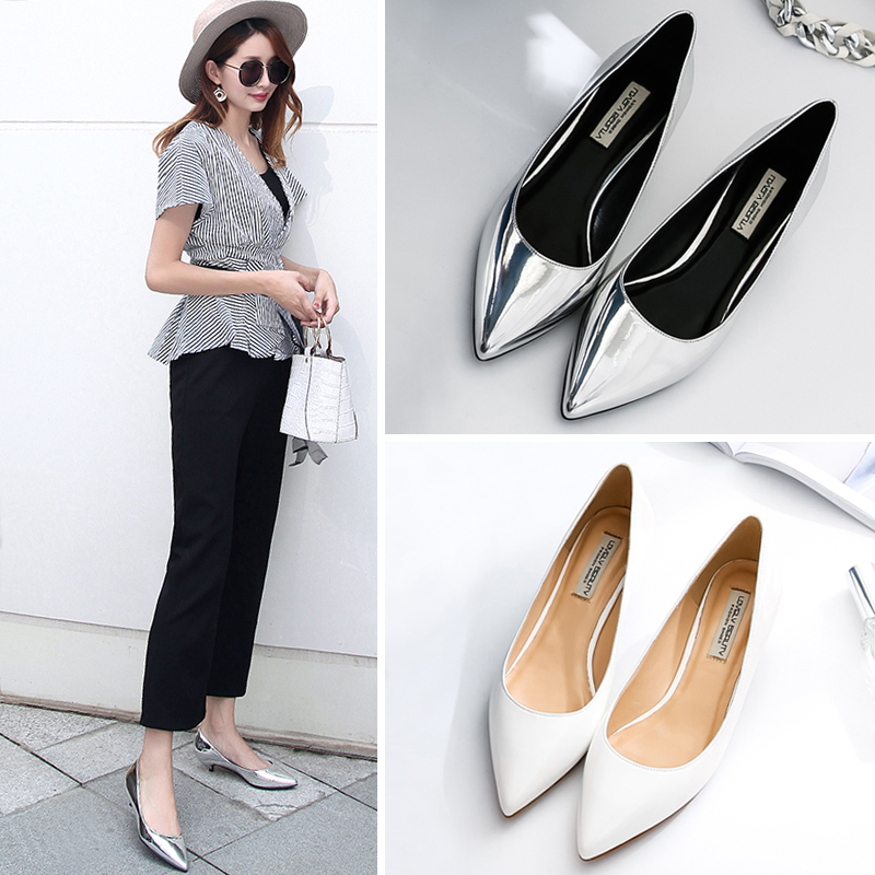 Silver high heels womens 2021 new versatile sexy thin heels 5cm low heels 3cm pointed single shoes large small heels