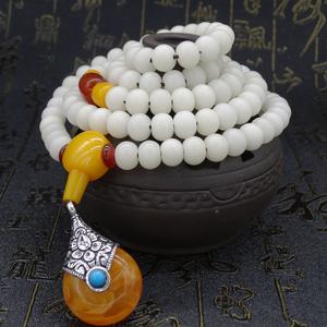 天然白菩提根108颗桶珠手串佛珠菩提子手链蜜蜡颗原创项链