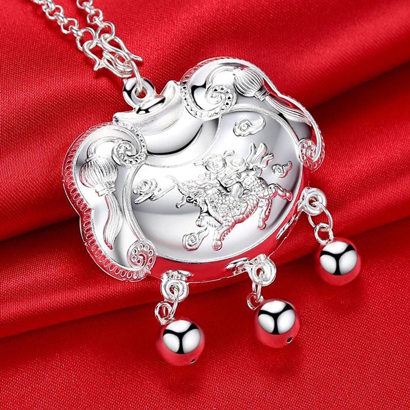 Silver Zodiac dog baby silver lock pendant full silver wealth long life silver chain full moon gift