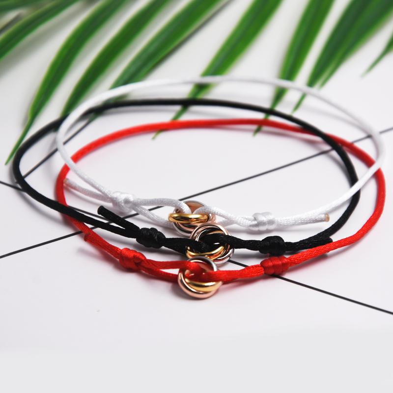 Kajia tricolor and tricyclic titanium steel bracelet for women