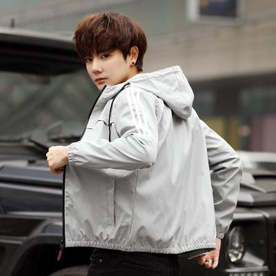 2019春季新款男士休闲夹克韩版修身条纹连帽夹克男 256 P50 M-4XL