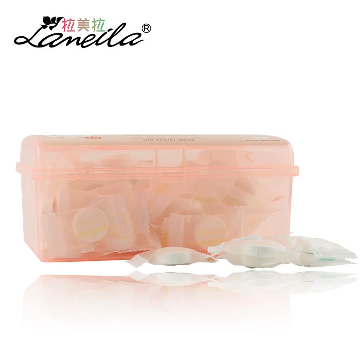 拉美拉 纯棉胶盒装压缩面膜贴纸膜美容院 非蚕丝一次性补水水膜