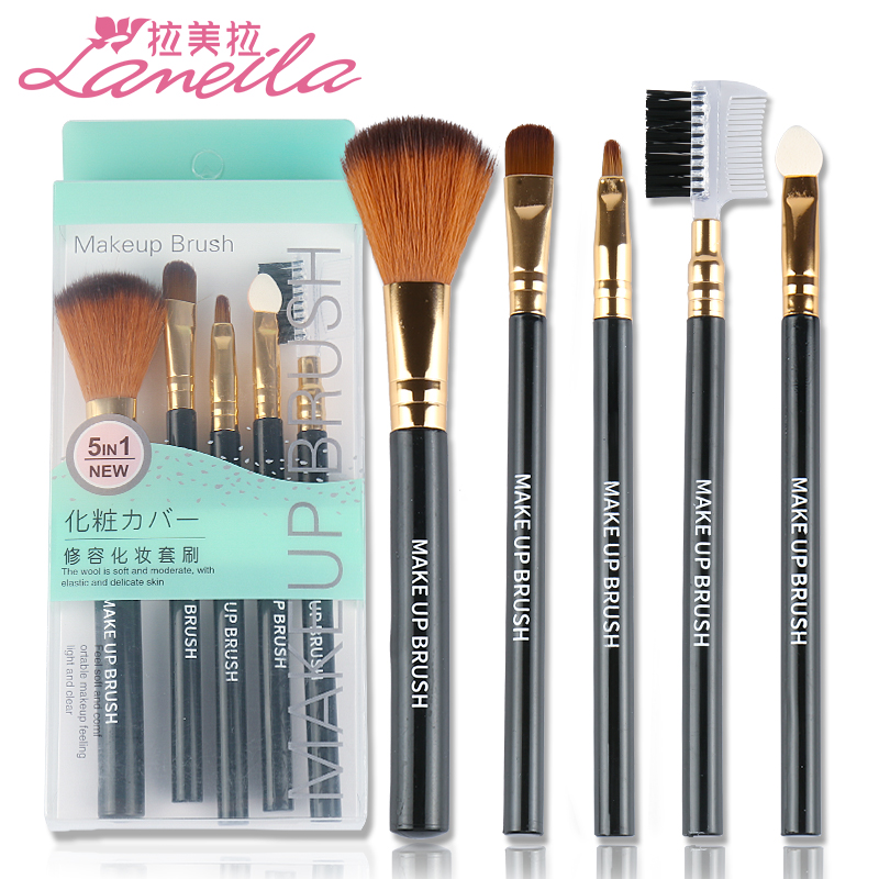 5 cosmetic brush sets in Latin America, beginners makeup tools, blush brush, eye shadow brush, lip brush, brow brush, powder brush.
