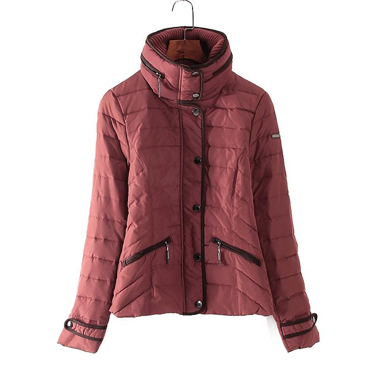 新品 SP系列专柜撤柜女装冬装时尚韩版酒红色短款羽绒服T5937