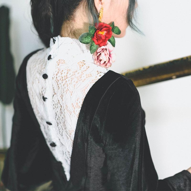 弥爱原创 迷失香榭 赫本法式复古丝绒蕾丝衬衫秋新灯笼袖撞色上衣