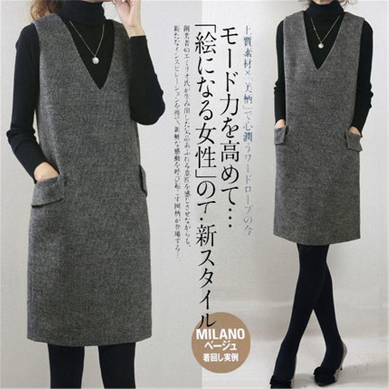 毛呢背心裙女春秋季打底连衣裙2021新款直筒H型显瘦加厚背带复古