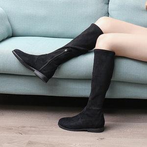 【默认微瑕 售完无补】韦恩过膝长靴女反绒弹力中筒瘦瘦靴1315