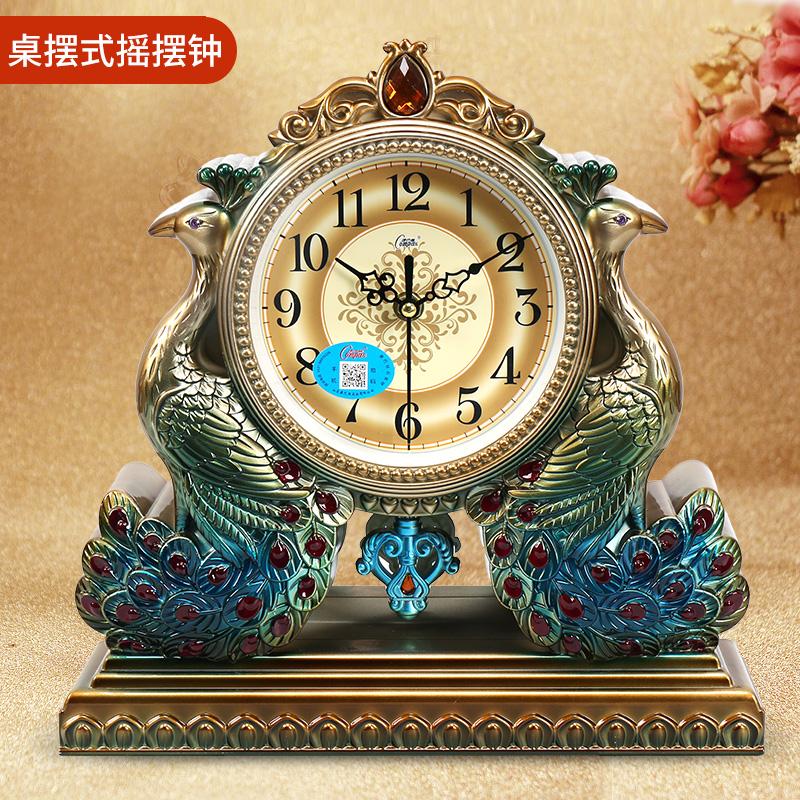 康巴丝欧式创意时钟客厅座钟时尚静音卧室台钟摆件田园石英钟表 - 封面