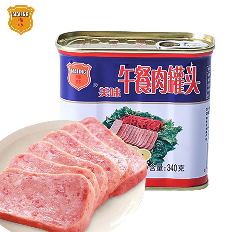 中粮梅林午餐肉罐头340g方便速食火锅泡面拍档螺蛳火鸡面早餐食品
