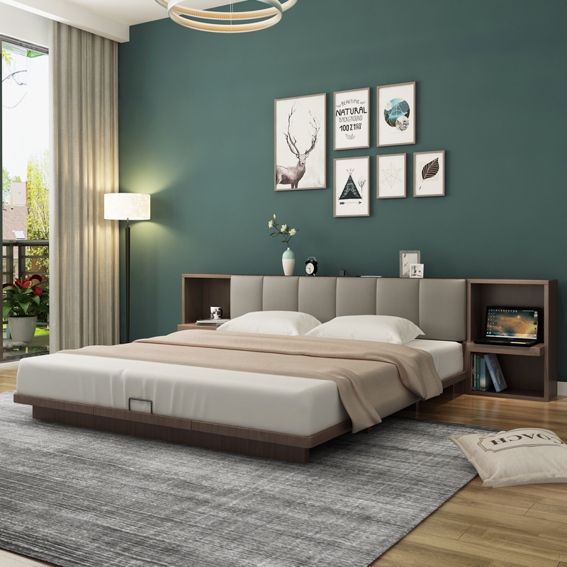 Japanese low bed tatami bedroom double bed Nordic simple modern 1m 8 small house type plate loft bed landing