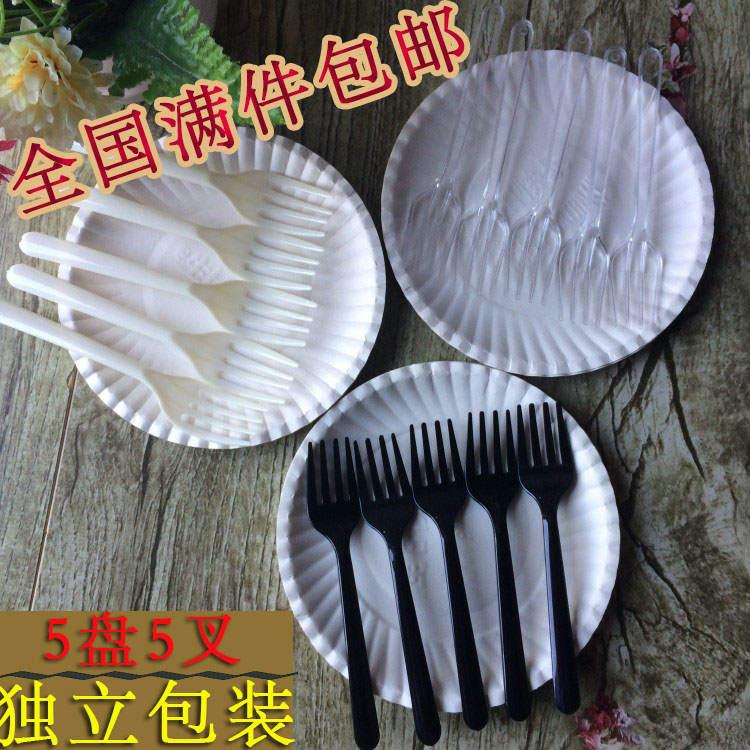 Cake cutlery, fork set, plastic disposable cake fork set, birthday cake knife fork set, paper plate