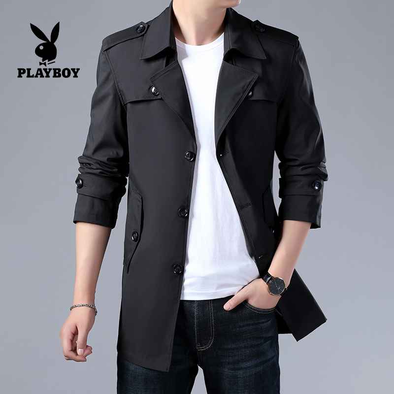 Playboy mens windbreaker medium long Korean version 2019 new thin coat mens spring autumn handsome single coat